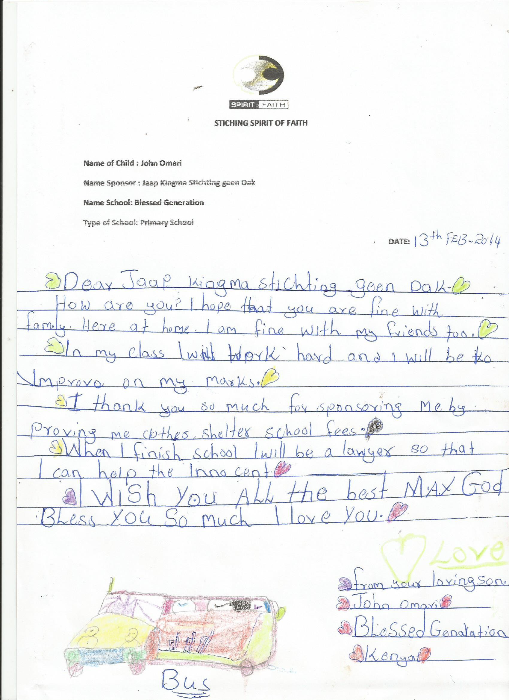Letter to Sponsor- John Omari 2014
